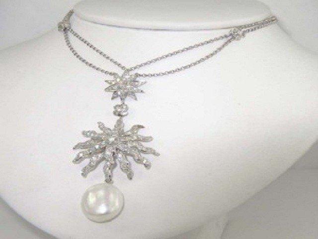 Salavetti 18K White Gold Diamond & Pearl Necklace
