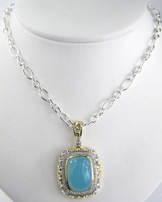 Charles Krypell Gold/Silver Lime Onyx Necklace