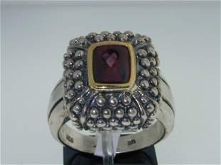 BJC 14k Yellow Gold/Silver Rhodolite Ring