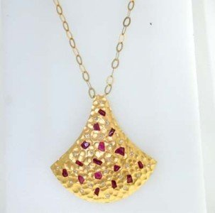 Coera 18K Yellow Gold, Ruby & Diamond Necklace