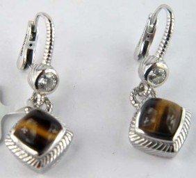 Judith Ripka Silver Diamond Tigers Eye Earring
