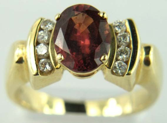14K Yellow Gold Garnet Diamond Ring