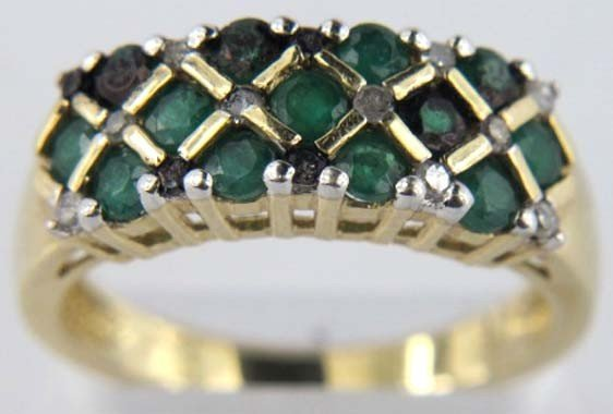 10K Gold Green and Black Onyx Ring