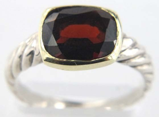 David Yurman 18K Gold/Silver Garnet Ring