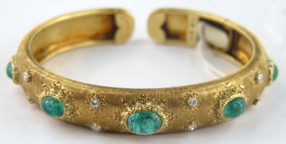 Buccellati 18K Yellow Gold Emerald Bangle