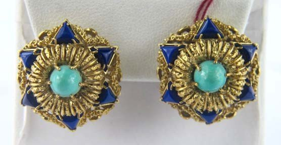 18K Yelow Gold Turquoise and Lapis Earrings