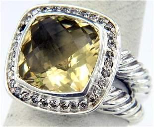 David Yurman Silver, Citrine & Diamond Ring