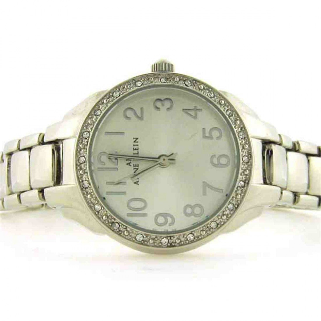 AK Anne Klein Crystal Brushed Silver Dial Watch