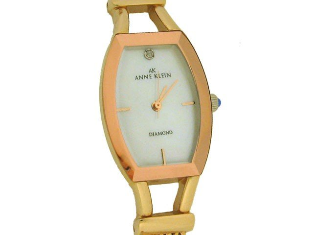 1: AK Anne Klein Women's Diamond Accented Gold-Tone Wat
