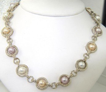 1A: Charles Krypell Silver Pearl Necklace