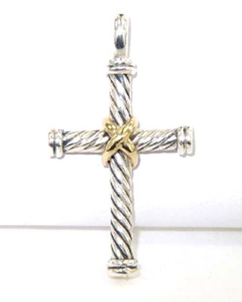 2A: David Yurman Silver /18K Yellow Gold Cross Pendant