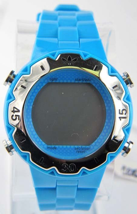 3A: Adidas Stainless Steel Frame Blue Rubber Strap Watc