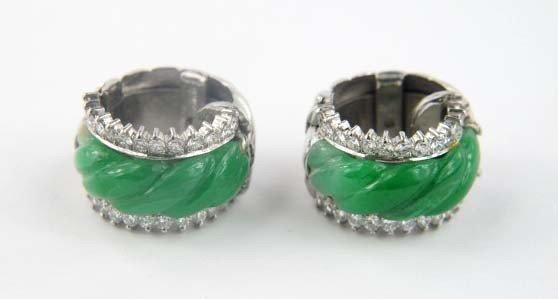 4A: 14K White Gold Diamond Jade Earrings