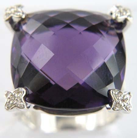 3B: David Yurman Silver Amethyst & Diamond Ring