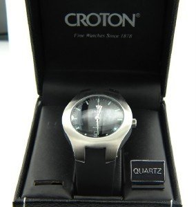 2B: Croton Stainless Steel Rubber Strap Watch