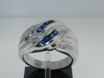 1C: Platinum Sapphire & Diamond Ring.