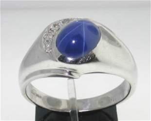 4k White Gold Star Sapphire Diamond Ring