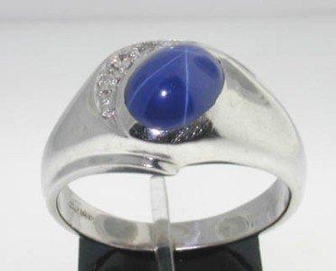 14k White Gold Star Sapphire Diamond Ring