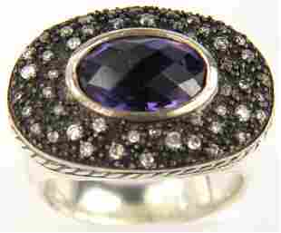 David Yurman Silver Diamond Amethyst Ring