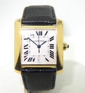 Cartier 18K Yellow Gold JustDate Leather Strap watch