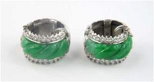 14K White Gold Diamond Jade Earrings