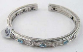 Judith Ripka Silver Diamond And Blue Topaz Bangle