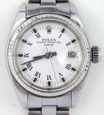 Rolex Stainless Steel Roman Numerals Ladies Watch