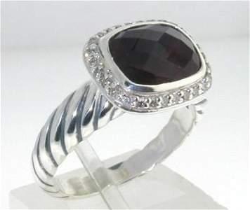 David Yurman Silver Garnet Diamond Ring