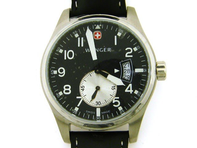 93A: Wenger AeroGraph Vintage Men's Watch with Black an