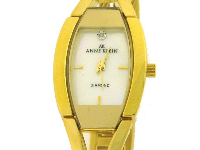 97A: AK Anne Klein Women's Diamond Accented Gold-Tone W