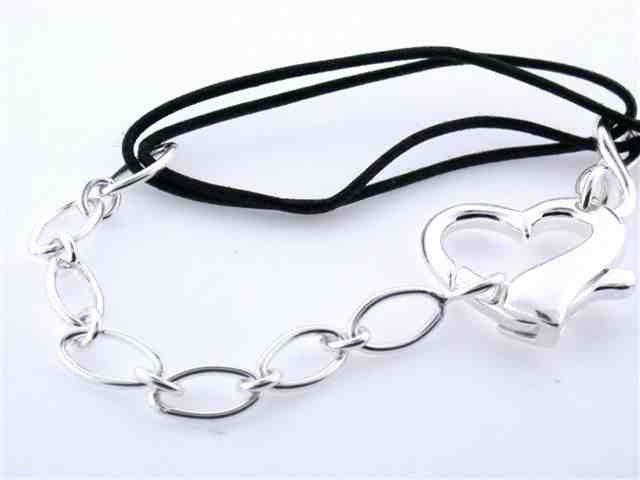 Sterling Silver and Rubber Bracelet with Heart Char