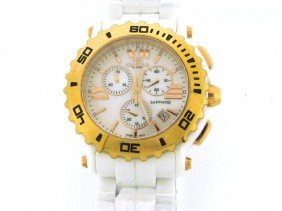 ONISS ON8108-LRG White Chronograph Watch