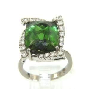18K White Gold, Green Citrine & Diamond Ring