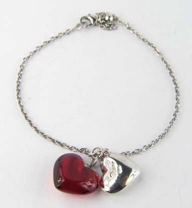 2A: Baccarat Silver/Ruby Crystal Bracelet