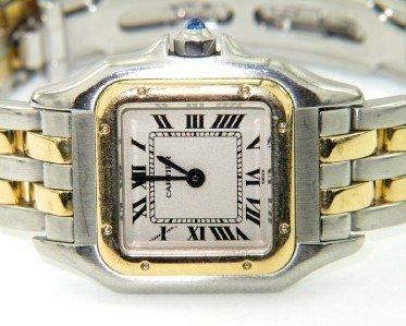 4A: Cartier 18K Yellow gold Stainless Steel Wrist Watch