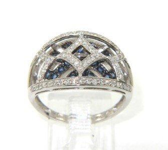 2B: 14K White Gold Sapphire & Diamond Ring