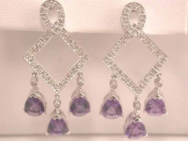1E: 14k Gold Earrings with Diamonds and Amethyst