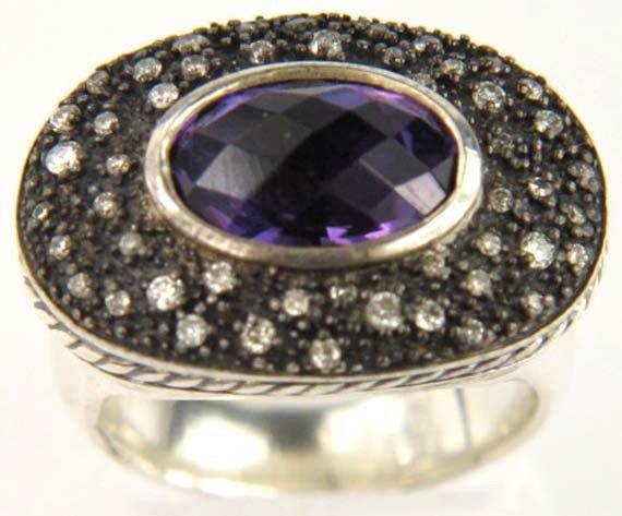 1: David Yurman Silver Diamond Amethyst Ring