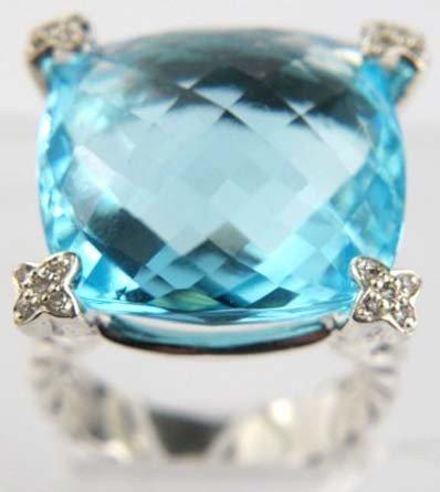 80: David Yurman Silver Blue Topaz & Diamond Ring