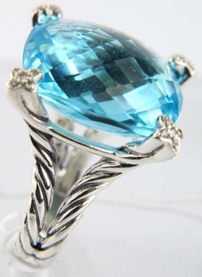 80: David Yurman Silver Blue Topaz & Diamond Ring - 2