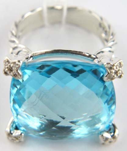 80: David Yurman Silver Blue Topaz & Diamond Ring - 3