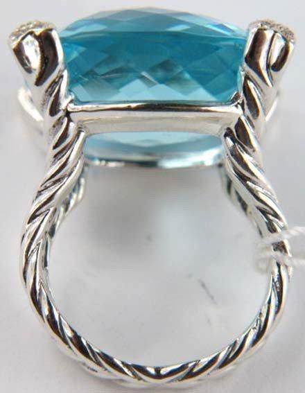 80: David Yurman Silver Blue Topaz & Diamond Ring - 4