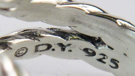 80: David Yurman Silver Blue Topaz & Diamond Ring - 5