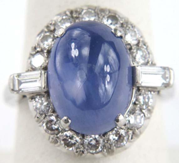 4: Star Sapphire Platinum Diamond Ring