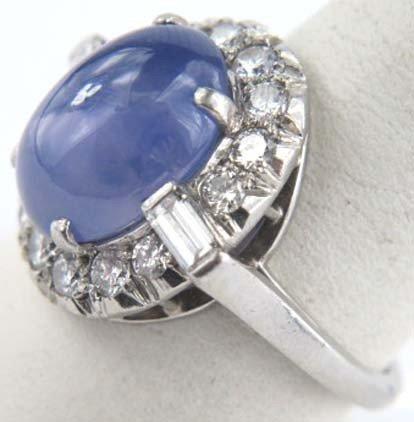 4: Star Sapphire Platinum Diamond Ring - 2