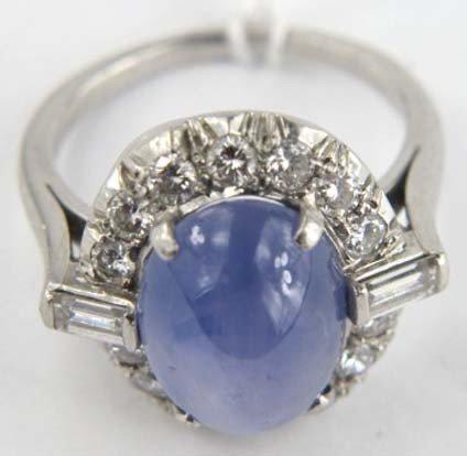 4: Star Sapphire Platinum Diamond Ring - 3