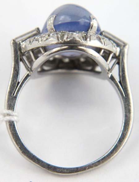 4: Star Sapphire Platinum Diamond Ring - 4