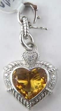 Judith Ripka Diamond and Citrine Heart Pendant