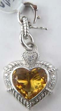 2A: Judith Ripka Diamond and Citrine Heart Pendant