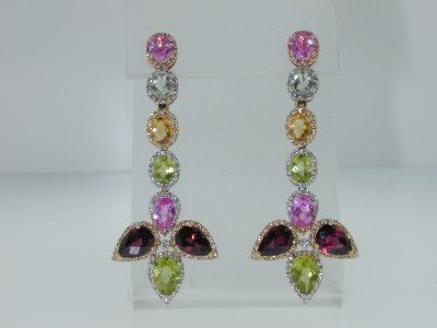 3A: 14K MultiToned Gold Multi Color Stones Diamond Earr